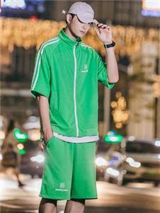 太子龙男装绿色休闲套装