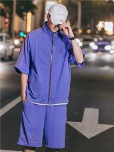 太子龙男装紫色休闲套装