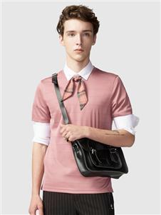 步森粉色T恤