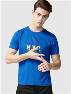 步森男装步森新款蓝色T恤