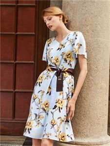 臣枫夏法式印花裙