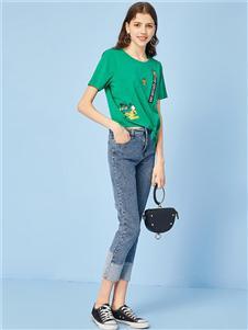 诺蔓琦女装诺曼琦绿色T恤