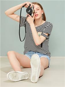 诺蔓琦女装诺曼琦黑白条纹T恤