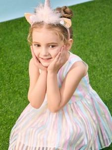 小猪班纳女童条纹裙子