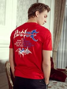 贝克狮丹男装红色T恤