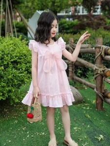 小嗨皮女童夏粉色裙子