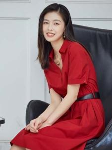 尼赫菲2020新款红色�连衣裙