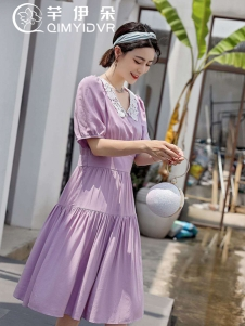 芊伊朵紫色连衣裙