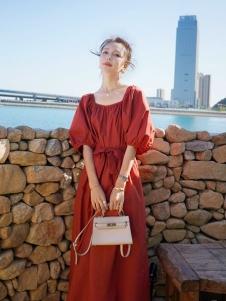 音菲梵红色法式连衣裙