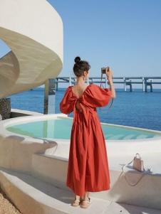 音菲梵红色连衣裙