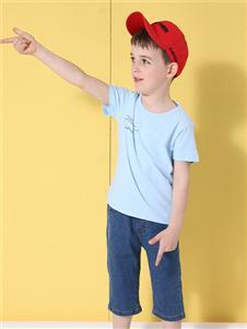 杰米熊男童浅蓝色T恤