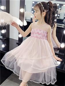 杰米熊女童粉色连衣裙