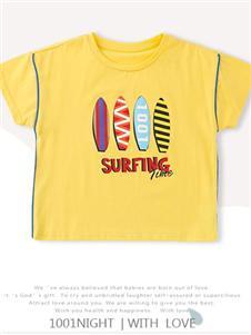 1001夜童装1001夜黄色T恤
