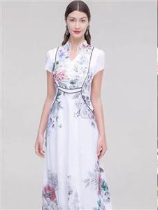 古色2020白色复古裙