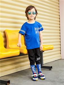 杰米熊男童蓝色T恤