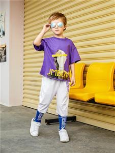 杰米熊夏季紫色T恤