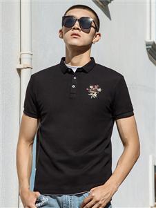 卡宾男装卡宾黑色POLO衫