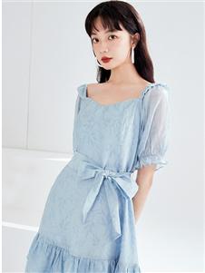 金苑蓝色连衣裙夏新款