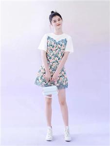 太平鸟女装假两件连衣裙