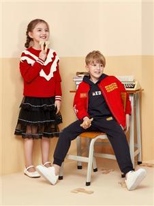 红蜻蜓红色时尚卫衣