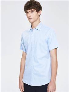 七匹狼男装蓝树短袖衬衫