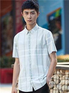 杉杉男装格子短袖衬衫
