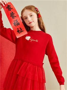 巴拉巴拉童装巴拉巴拉秋季红色连衣裙