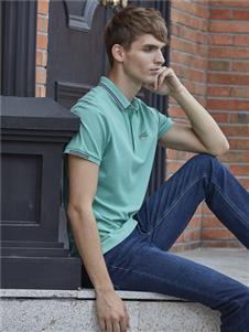 爱迪丹顿男装爱迪丹顿浅绿色POLO衫