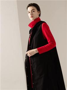 约布女装约布红色高领上衣