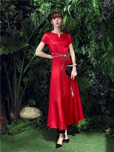 尚约女装尚约红色连衣裙