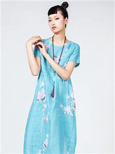 指间沙女装指间沙蓝色印花连衣裙