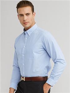 富绅浅蓝色经典衬衫