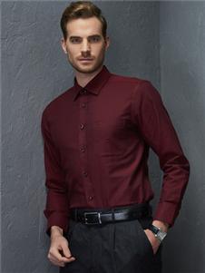 富绅男装酒红色衬衫