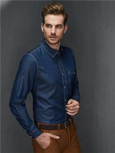 富绅男装富绅男装新款牛仔衬衫