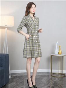 夺宝奇兵赫本风格子衬衫裙