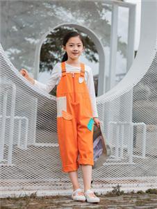 棉绘橙色背带裤