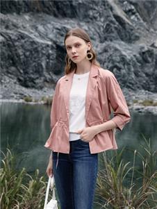千百惠女装千百惠粉色外套