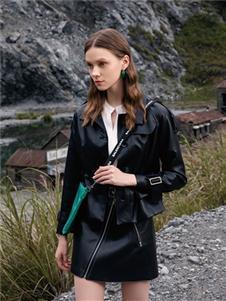 千百惠女装千百惠黑色皮外套