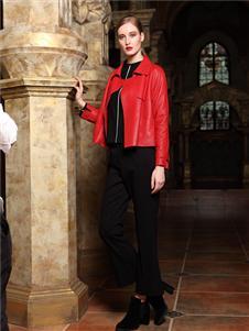 卡地亚女装短款红色皮衣