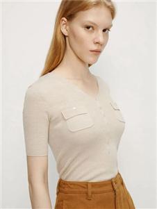 艾诺丝雅诗女装艾诺丝雅诗2020秋装针织半袖上衣