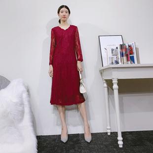 中年大碼連衣裙新紅蓮斯秋季新款走份批發