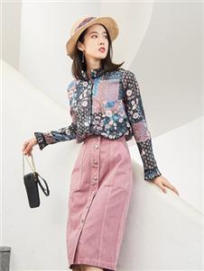 麗迪莎2020秋粉色半身裙