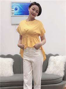 koxieli珂希莉时尚百搭黄色T恤