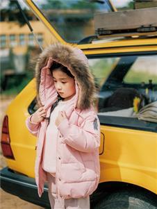 拉斐贝贝粉色羽绒服
