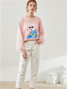 咏仕新款粉色卫衣