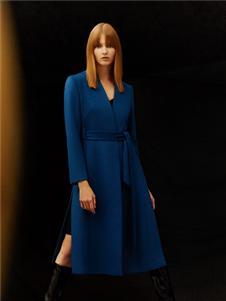 尚约2020秋冬女装蓝色连衣裙