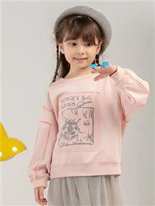 宝贝传奇粉色印花卫衣