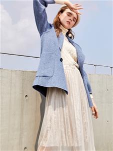 JCOA茧构蓝色大衣