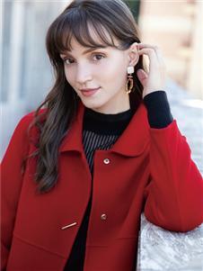 布根香女装红色双面呢大衣