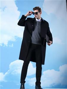 鹿王男装中长款大衣